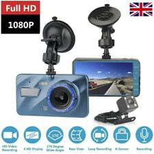 "4"" HD 1080P Car DVR Dual Lens Front and Rear Camera Dash Cam Video Recorder UK"