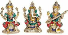 Idol Collections Lakshmi Ganesha Saraswati (Set of 3) Brass Statue, Multicolor