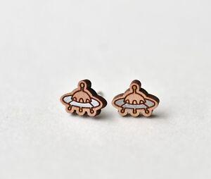 Wood UFO earrings handmade painted stud earrings gift girls womens girls Xmas