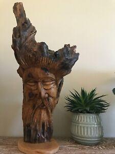 Teak Hand carved forest man green man natural carving garden decoration wood