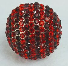 Red Rhinestones Round Sphere Circle Silver Tone Ring