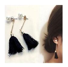 BLACK TASSEL PEARL BOHEMIAN STYLE DANGLE DOUBLE EARRINGS