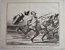 DAUMIER LITHOGRAPHIE ORIGINALE TIRAGE SUR BLANC, ACTUALITÉS N° 75, 1859