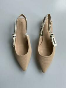 Auth Christian Dior Beige Technical Fabric J'adior Slingback Flats in size 38