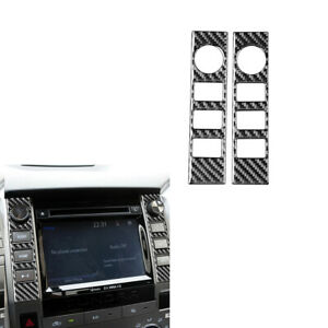 2x Carbon Fiber Center Console Panel Side Sticker Trim For Toyota Tundra 2014-18