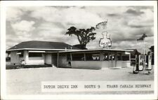 Trans Canada Highway Dutch Drive Inn & Gas Pumps Real Photo Postcard rpx