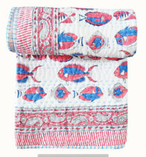 """Indian Kantha Baby Quilt Cotton Fish Print Toddler Bedspread 40X60"""" Size Blanket"""