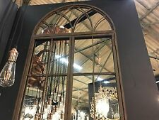 Antiqued Iron Coloured Large Arch Window Metal Mirror Opening Doors