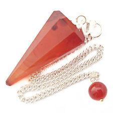 Carnelian Crystal GEMSTONE Point Dowsing Pendulum Orange Agate Chakra Healing