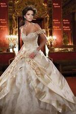 New Custom Champagne Wedding Dress Bridal Gown Size:6/8/10/12/14/16 Petticoat