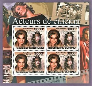 Romy Schneider - Stamp Sheet with 4 perforated stamps MNH by UK seller