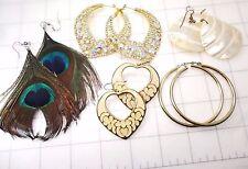 Lot of 5 Pair of Big Beautiful Fancy Pierced Earrings hoop bling heart feather