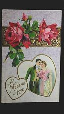 Vintage Valentine Post Card A Message Of Love