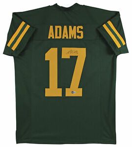 Davante Adams Authentic Signed Green Pro Style Jersey w/ Yellow #'s BAS Witness