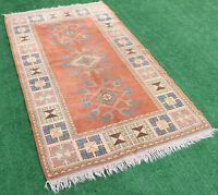 Turkish Rug 48''x84'' Vintage Old Anatolian Carpet 124x214cm Area Wool Bohemian