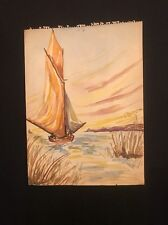 Vintage 40's Seascape Watercolor Sketch by NY Art School Student Unsigned