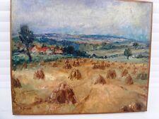 """SOURDILLON BERTHE (1895-1976) """"LES FOINS"""" BELLE HUILE ANCIENNE SUR TOILE DE 1930"""