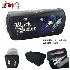 Black Butler black canvas zip pencil bag makeup bags storage handbag