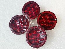 """4 x 4""""  RED LED Tail Lights with Reflector Flanges and Pigtails Lifetime Warr"""