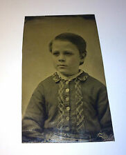 Antique Young Boy in Victorian Clothing Slick Hair! Tintype American Photo! Old!
