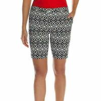 Mario Serrani Women's Comfort Stretch Tummy Control Bermuda Shorts - Black/White