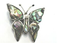 Shell Inlay Mexico Silver Plate Vintage Estate Brooch Butterfly Abalone