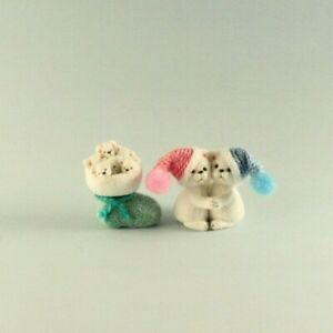 OOAK~Polar Bears~Christmas Stocking~Baby Toy~Artist Doll~Dollhouse~Cheryl Brown