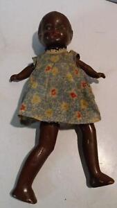 """Very Old Strung Composition Doll Black Americana  10"""" Tall"""