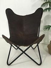 *BRAND NEW* BUTTERFLY CHAIR GENUINE LEATHER MATTE DARK TAN - BLACK FRAME