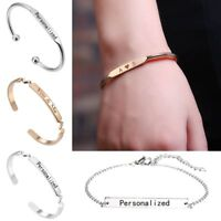 Stainless Steel Bracelet Personalized DIY Engraved Custom Name Chain Bangle Gift