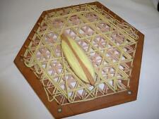 Vintage Large Wooden Hand LAP WEAVING LOOM Hexagon w/ Wood Shuttle