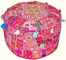"18"" Indian Handmade Pouf Cover Cotton Ottoman Patchwork Floor Sofa Home Decor"
