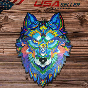 Wooden Jigsaw Puzzle Cartoon Animal Wolf Unique Toy Decor For Adult Kids Gift