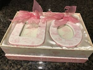 Mud Pie Princess Frames with Pink Ribbon Set of 2 Boxed in Box with Satin NIB