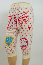 Bass By Ron Bass Cream 3/4 Sweat Jogger Pants Red Dots Patches XL, Waist: 34-36""