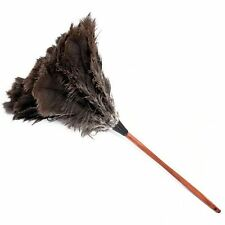 One (1) black ostrich feather duster 70cm overall wood stained handle1st grade