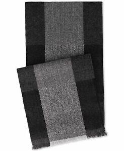 NEW $145 Tommy Hilfiger Mens Black Gray Logo Warm Winter Muffler Scarf One Size