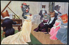 Cats signed Thiele Vintage Postcard Singing Piano