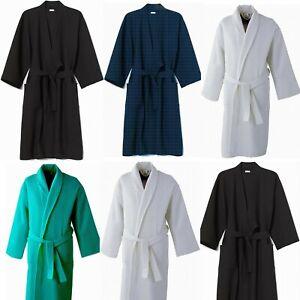 WAFFLE COTTON DRESSING GOWN KIMNO SOFT LIGHTWEIGHT BATH ROBE FOR MEN WOMEN