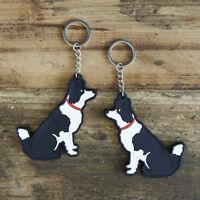 Cute BORDER COLLIE Dog Keyring, Novelty Gift, PVC Key Ring, Bag Charm, FREE P&P