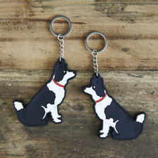 Cute BORDER COLLIE Dog Keyring, Novelty Gift, PVC Key Ring, Bag Charm, FREE P&P