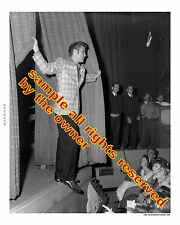 ELVIS PRESLEY LOT OF 2 PHOTOS 1950`s CBS STUDIOS CURTAIN & BACK STAGE IN GOLD