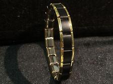 18 Link 9mm Stainless Steel Italian Charm Starter Bracelet Matte Black Gold Trim
