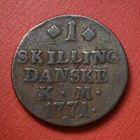 MONNAIE COIN DANEMARK 1 Skilling Christian VII 1771 Copenhague KM# 616, C# 47