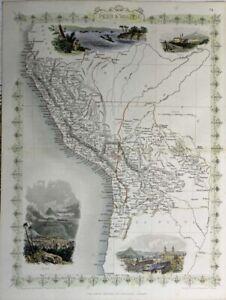 1855 Very Decorative Tallis Map of Peru & Bolivia