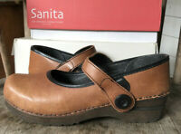 Sanita Blaire Mary Jane Clogs Light Brown Leather 39