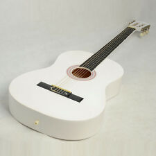 """New 38"""" White Folk Plywood 19 Frets 6 Strings Practice Acoustic Guitar"""