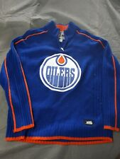 NHL Edmonton Oilers Mens Med. 1/4 Zip Knit Sweater Used
