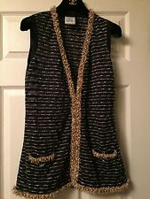 Chanel 2015C NEW DYBAI AMAZING Blue Gold Jacket Vest with Gold Pearls FR38