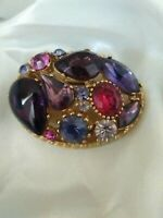 Vintage Signed SPHINX Amethyst Pink Red Glass Gold Tone Collectable Brooch Pin